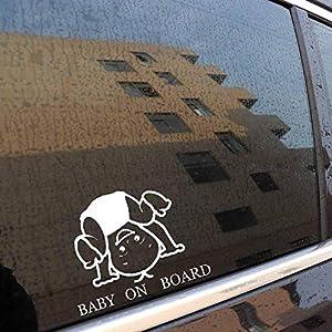 BABY ON BOARD Funny Fun Window Decal Vinyl Lovely Boy Sticker 15CM x 11.5CM