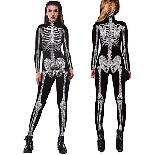 (Elevin(TM)2017Women Skeleton Bones Movement Breathable Bodycon Halloween Cosplay Party Fancy Jumpsuits Clothing (S,)