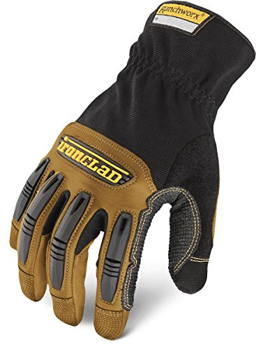 General Utility Spandex Gloves - Ironclad Ranchworx Work Gloves RWG2, Premier Leather Work Glove, Performance Fit, Durable, Machine Washable, Sized S, M, L, XL, XXL, XXXL (1 Pair)