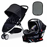 Britax 2017 B-Agile/B-Safe 35 Elite Travel System, Domino & Britax EZ-Cling Sun Shades