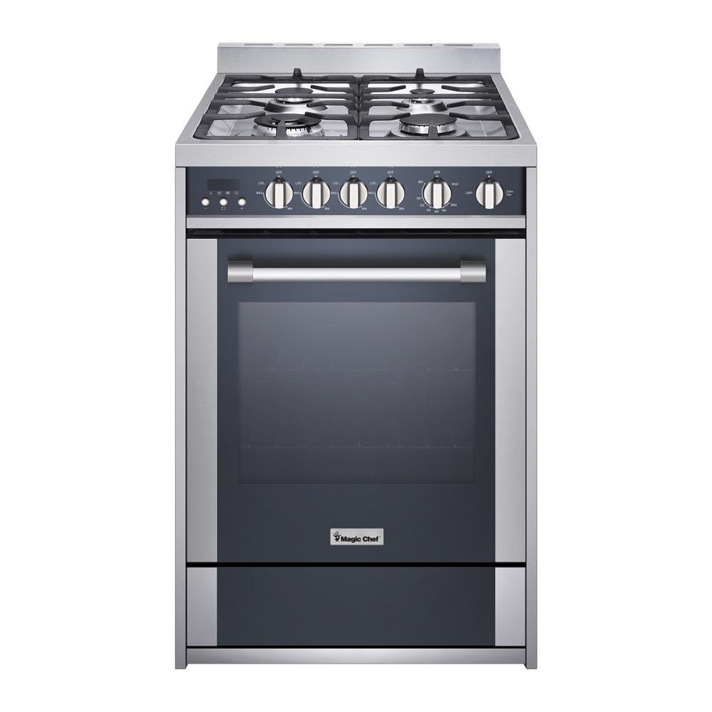 "Magic Chef Freestanding Oven MCSRG24S 24"" 2.7 cu. ft. Gas Range with Convection, Stainless Steel"
