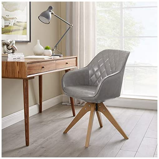 Living Room Art Leon Mid-Century Modern Faux Leather Upholstered Swivel Accent Chair Light Gray with Wood Legs Armchair for Home… modern accent chairs