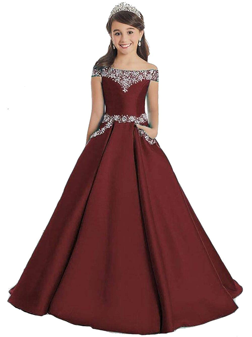 0d8e42272879 Amazon.com: Girls Off The Shoulder A Line Pageant Dresses with Pockets Formal  Dresses: Clothing