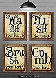 Bathroom Wall Decor - Bathroom Phrase Art Prints - Set of Four 8'x10'...