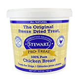 Pro-Treat Stewart Freeze Dried Chicken Breast Dog Treats, Grain Free All Natural, Made in USA Using Human Grade USDA Certified Chicken Breast, 14.8 oz, Resealable Tub