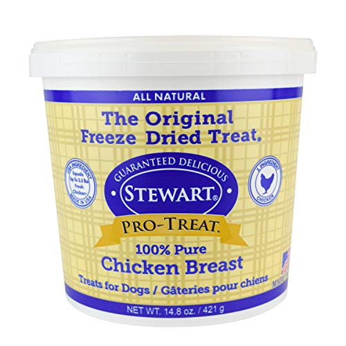 Stewart Freeze Dried Chicken Breast Dog Treats, Grain Free, All Natural, Made in USA by Pro-Treat, 14.8 oz., Resealable Tub - Chicken Treats Dog Good