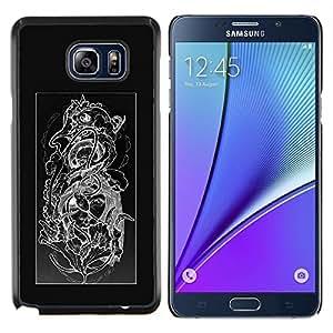 EJOOY---Cubierta de la caja de protección para la piel dura ** Samsung Galaxy Note 5 5th N9200 ** --Diseño floral Negro Blanco Cráneo floral