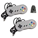 EEEKit 2 Packs Classic Retro Super Nintendo SNES USB Wired Controller Connector Jopypads Gamepads for iOS Android Windows PC Mac