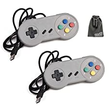 EEEKit 2 Packs Classic Retro Super Nintendo SNES USB Wired Controller Connector Jopypads Gamepads for iOS Android Windows PC Mac Raspberry Pi