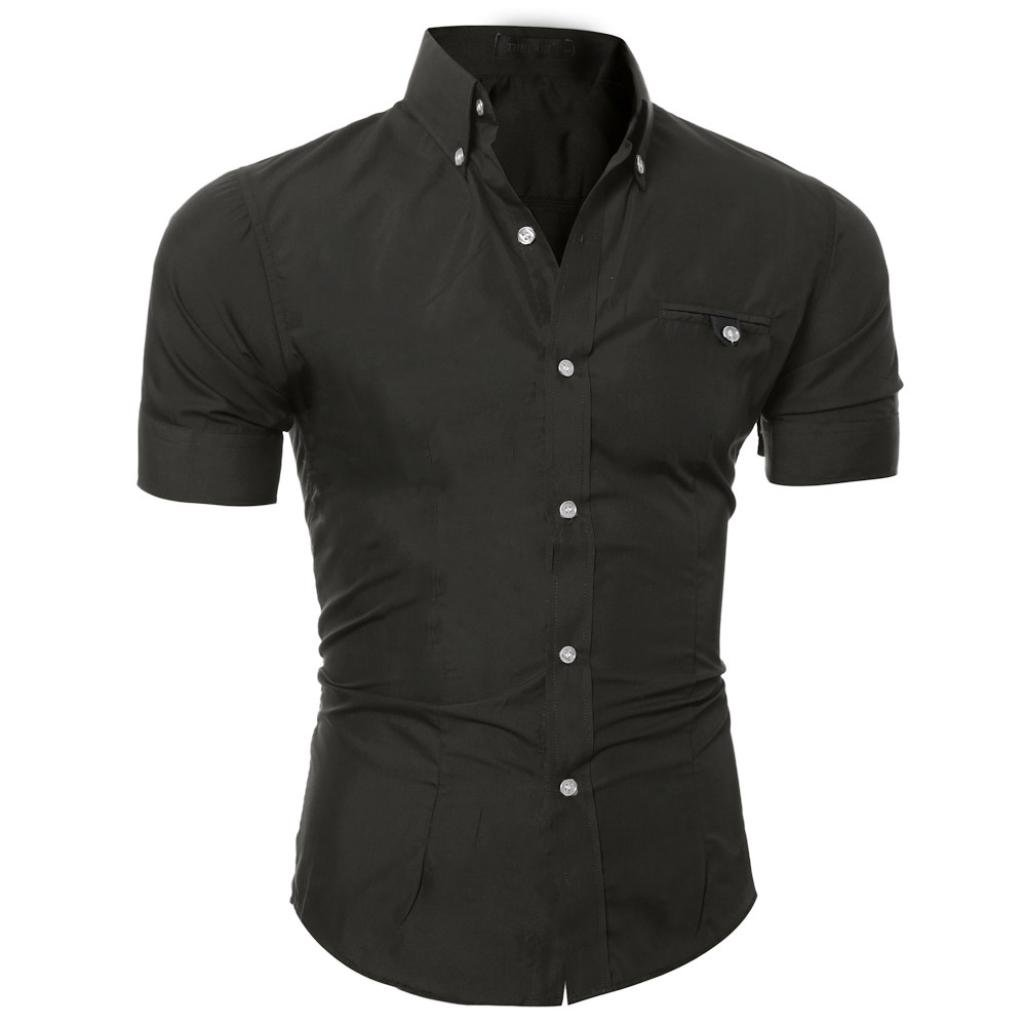 Hot Sale! OOEOO Men's Lapel Shirt Casual Button Down Pullover Short Sleeve Top Blouse