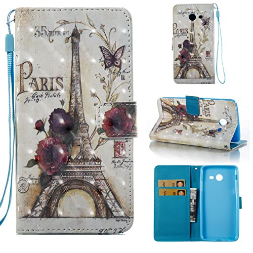 Galaxy J7 V Case / Galaxy J7 Perx Case / Galaxy J7 Sky Pro / J7 Prime / Galaxy Halo / J7 2017 Case, Lightweight PU Leather Wallet Case Kickstand Flip Cover with Credit Card Slot Birthday Gift -Tower