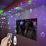 LED Curtain Lights, 1.5m x 0.5m USB 48LED Star Fairy Curtain Lights Remote Control Decorative Window Lights, 8 Modes Water Resistant Fairy String Lights for Garden, Gazebo, Party, Patio and More