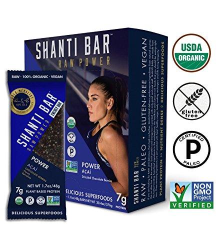 SHANTI BAR Organic Protein Bar, POWER ACAI - Drizzled Chocolate Berries - 7g Protein, Gluten Free, Non-GMO, Raw, Superfoods, Paleo, Vegan, Kosher, 48g Bars, 12 Count