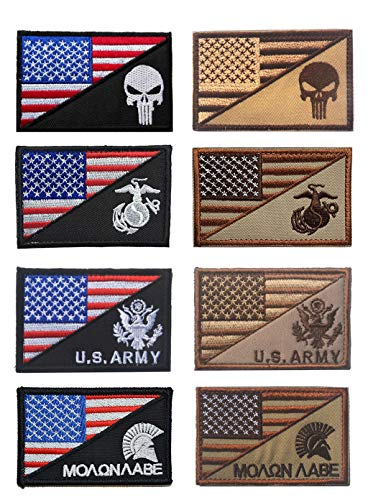 """Antrix 8 Pieces US American Flag/USA Punisher US Marine Corps USMC US Army Spartan Molon Labe Military Tactical Morale Patches 3.15""""x 2""""-Black&Brown"""