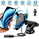 Wireless Car Charger, EnergyInnovations Fast Qi Wireless Charging Dashboard Suction & Vent Mount Phone Holder for iPhone X, 8/8+, Samsung Galaxy S8/S8+/S7/S7 edge/S6 edge +/Note 8/5, and Qi Devices