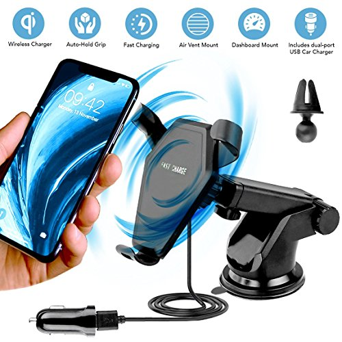 Wireless Car Charger, EnergyInnovations Fast Qi Wireless Charging Dashboard Suction & Vent Mount Phone Holder for iPhone X, 8/8+, Samsung Galaxy S8/S8+/S7/S7 edge/S6 edge +/Note 8/5, and Qi Devices ()