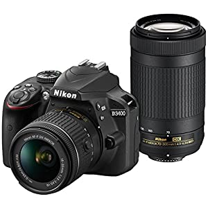 Nikon D3400 Digital SLR Camera & 18-55mm VR & 70-300mm DX AF-P Lenses with 32GB Card + Case + Flash + Tripod + Tele/Wide…