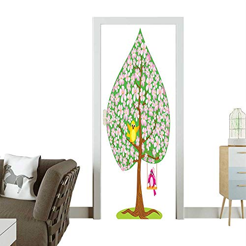 Door Sticker Wall Decals Shape SPR Tree Flowers Bird Love Seas Green Brown Easy to Peel and StickW38.5 x H79 INCH ()
