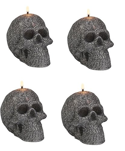 Biedermann & Sons Charcoal Glitter Skull Candles (Box of 4) C1670