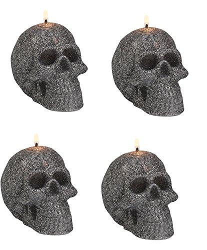 Biedermann & Sons Charcoal Glitter Skull Candles (Box of 4) C1670