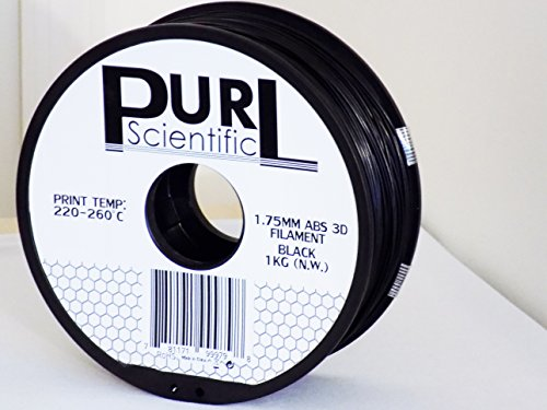 PURL SCIENTIFIC 1.75mm Black ABS 3D Printer Filament 1kg Spool 2.2 lbs Dimensional Accuracy +/- 0.05mm