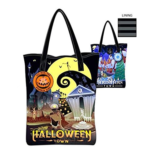 Nightmare Before Christmas Halloween and Christmas Town 2-Sided Tote Purse]()