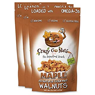 Crazy Go Nuts Walnuts - Maple, 4.5 oz (3-Pack) - Healthy Snacks, Vegan, Low Carb, Gluten Free, Superfood - Natural, Non-GMO, ALA, Omega 3 Fatty Acids, Good Fats, and Antioxidants