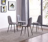 Cheap IDS Eames Style Dining Chairs Fabric Cushion Seat Side Chair Armless Living Room Chairs Set of 4 (Grey)