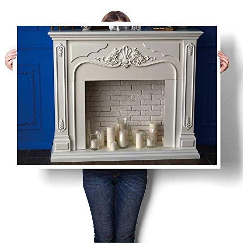 SCOCICI1588 Modern Canvas Painting Wall Art White Fireplace in The Room and White Candles Oil Painting,44