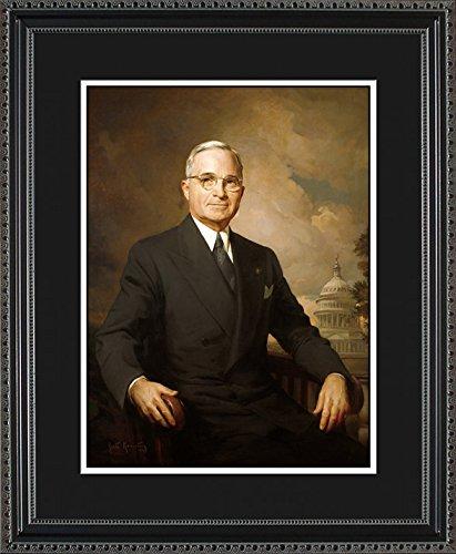 Harry S. Truman Official President Framed Portrait, 16x20 - Missouri Art Glass Frame