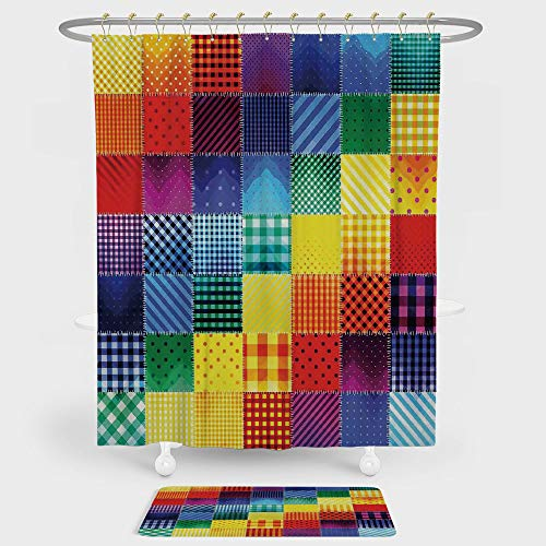 Hoop Diagonal (iPrint Farmhouse Decor Shower Curtain And Floor Mat Combination Set Rainbow Colored Square Shaped Diverse Patterns Collection with Diagonal Forms For decoration and daily use Multi)