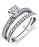 Metal Masters Co. Cubic Zirconia Wedding Band Engagement Anniversary Solitaire Ring Bridal Sets 925 Sterling Silver 9