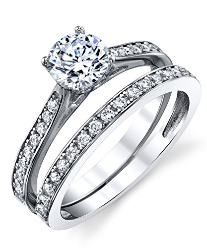 - Metal Masters Co. Cubic Zirconia Wedding Band Engagement Anniversary Solitaire Ring Bridal Sets 925 Sterling Silver 7
