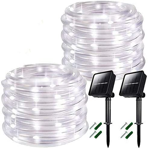 Chinety Solar String Lights Outdoor 2 Pack 8 Modes 100 LED Solar Rope Lights Solar Power Outdoor Waterproof PVC Tube Light Copper Wire Fairy Lights for Garden Patio Gate Yard Party Wedding
