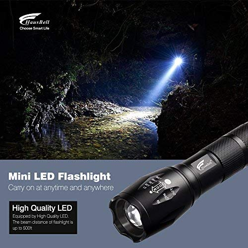 Flashlights, HAUSBELL Mini T6 Flashlight LED Flashlight Tactical Flashlight Flashlight Torch Adjustable Focus Zoom Flashlight (2 packs)