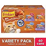 Purina Friskies Gravy Wet Cat Food Variety Pack, Prime Filets & Shreds Turkey & Chicken Favorites - (40) 5.5 oz. Cans