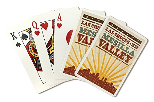 - Las Cruces, New Mexico - Skyline and Sunburst Screenprint Style (Playing Card Deck - 52 Card Poker Size with Jokers)