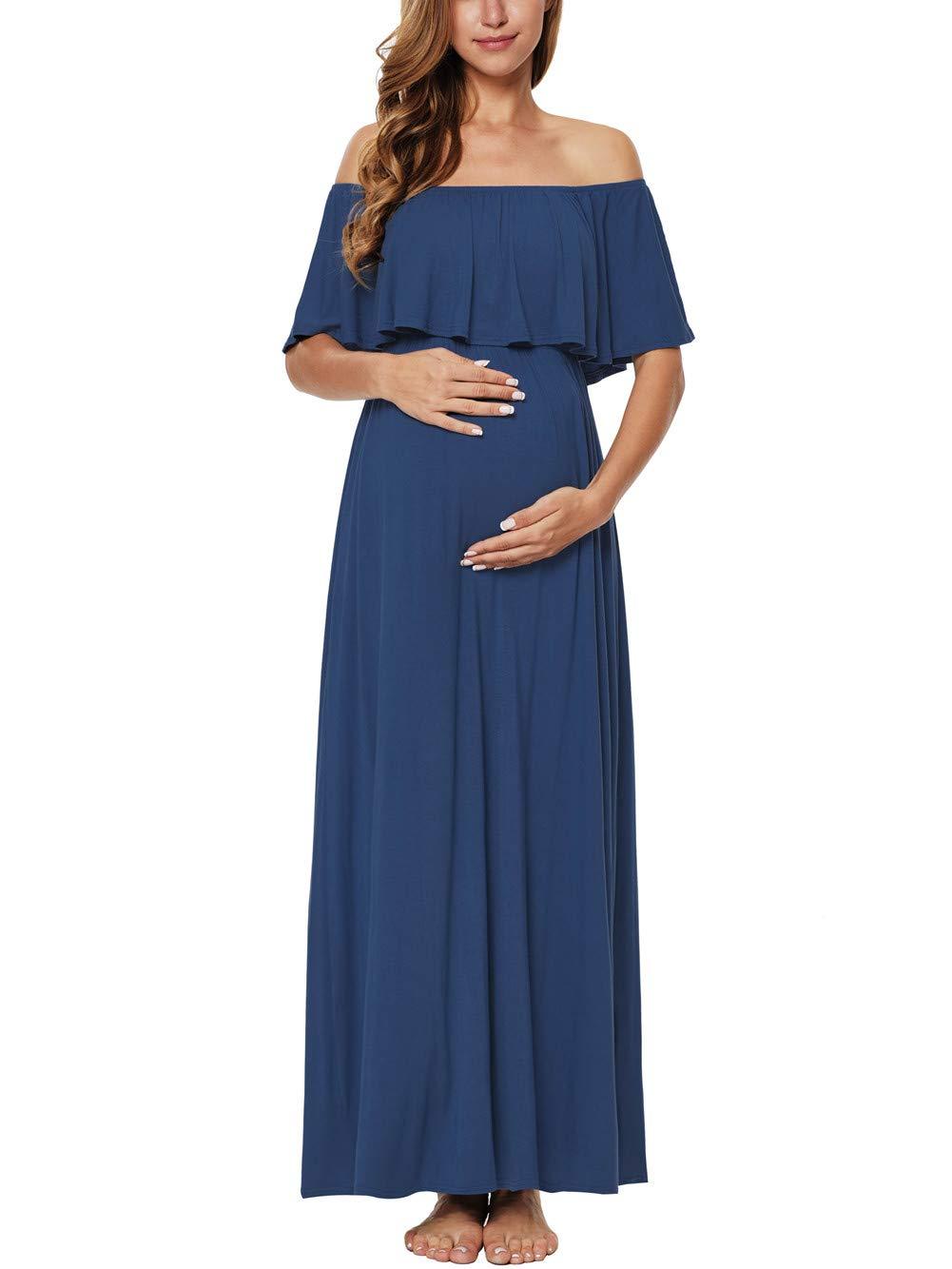 Caregabi Women's Ruffle Off The Shoulder Maxi Maternity Dress (Navy, M)