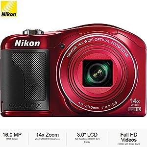 """Nikon COOLPIX L610 16MP 3"""" LCD Red Digital Camera 26346B - (Certified Refurbished)"""