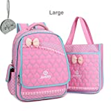 Micom Girls Student School Backpack with Tote Shoulder Bag Lunch Bag (Pink)