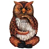 Exhart Owl LED Firefly Jar Statue, Solar Powered, Resin & Glass, Weather Resistant, Indoors & Outdoors, 7'' L x 7'' W x 10'' H
