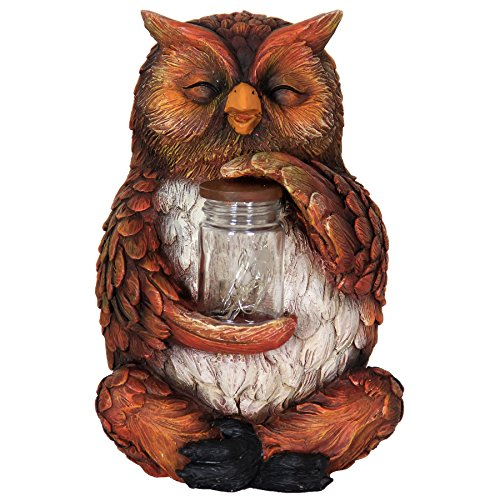 Exhart Owl with LED Firefly Jar Statue, Solar Powered, Resin & Glass, Weather Resistant, Indoors & Outdoors, 7