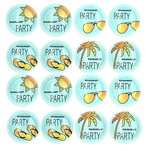 2 Pack Pool Beach Summer Party Supplies Plates,Includes Coconut tree,glasses,Slipper,sunlight,Summertime Theme Birthday Parties Disposable Tableware Gift 16 Pc(9inch)