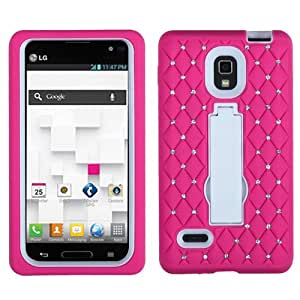 ASMYNA White/Hot Pink Symbiosis Stand Protector Cover (with Diamonds) for LG P769 (Optimus L9)