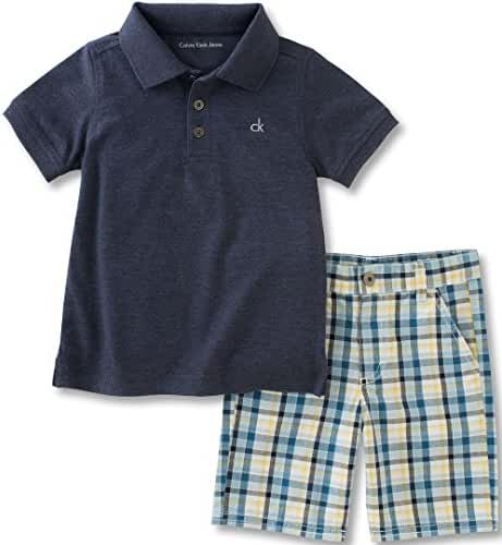Calvin Klein Boys' 2 Pieces Polo Set-Cargo Shorts, Dark Gray, 12M