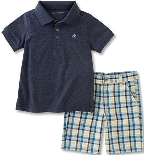 (Calvin Klein Baby Boys 2 Pieces Polo Set-Cargo Shorts, Dark Gray, 12M)