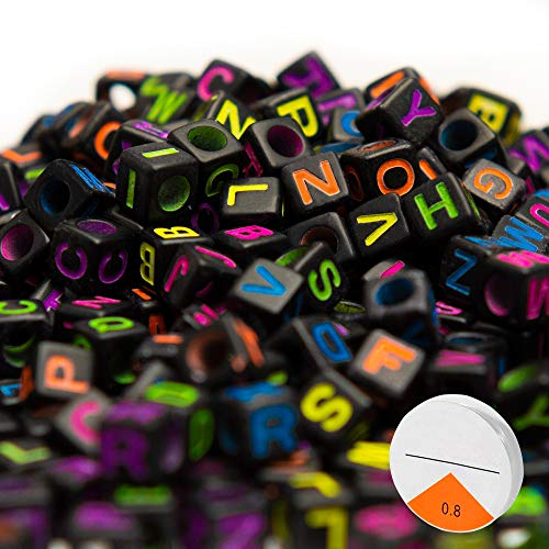 Key Chains and Kids Jewelry Bracelets Trasfit 1000 Pieces Black Colorful Acrylic Alphabet LetterA-Z Cube Beads for Jewelry Making Necklaces 6mm