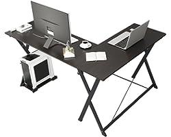 Soges L-Shaped Desk Computer Desk with Mainframe Multifunctional Computer Table Workstation, ZJ1-BK-WK-CA