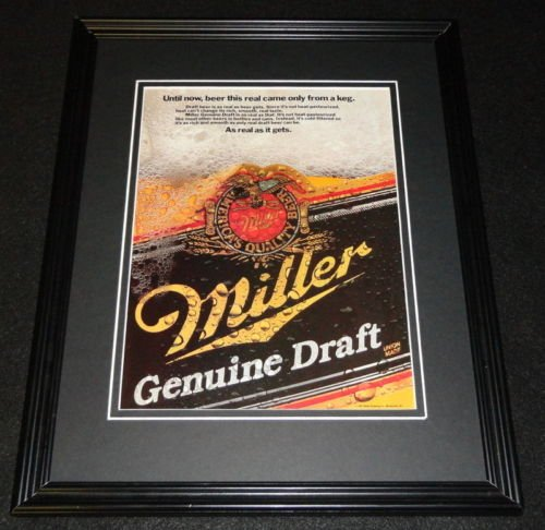 Draft MGD Beer Framed 11x14 ORIGINAL Vintage Advertisement (Vintage Miller Genuine Draft)