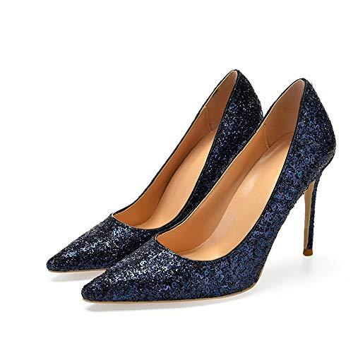 Hauts Bleu Talon Sexy 37 Talons Avec Pour Haut Femmes Pointu Zl Cuir 10cm Verni En 46 Chaussures ga41wWW5xq